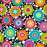Seamless background with snowflakes and colour rings, vector Royalty Free Stock Images