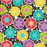 Seamless background with snowflakes and colour rings, vector Royalty Free Stock Photo