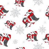 Seamless background with snowflakes and penguins . New Year, Christmas , holiday . Royalty Free Stock Photo