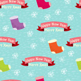 Seamless background with snowflakes and words Royalty Free Stock Photos