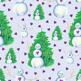 Seamless background with snowman and hearts Royalty Free Stock Photography