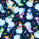 Seamless background with snowman Royalty Free Stock Photo