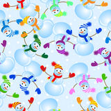 Seamless background with snowman Royalty Free Stock Images