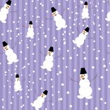 Seamless background with snowmans Stock Photography