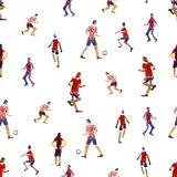 Seamless background. Soccer players kicks the ball with paint splatter design. footballer. isolated on white background. Watercolor illustration. Shooting stock illustration