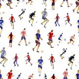Seamless background. Soccer players kicks the ball with paint splatter design. footballer. isolated on white background. Watercolor illustration. Shooting royalty free illustration