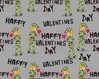 Seamless background soldier girl in love with heart valentine day. Stock Photo