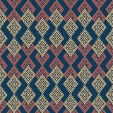 Seamless background southeast Asian retro aboriginal traditional. Art textile pattern check polygon spiral cross tracery frame Royalty Free Stock Photography