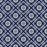 Seamless background southeast Asian retro aboriginal traditional. Art textile pattern curve spiral cross frame vine flower Stock Photos