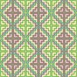 Seamless background southeast Asian retro aboriginal traditional. Art textile pattern mosaic square geometry cross Stock Photo