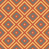 Seamless background southeast Asian retro aboriginal traditional. Art textile pattern round corner line cross check square frame Stock Images