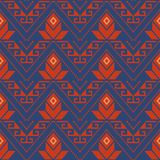 Seamless background southeast Asian retro aboriginal traditional. Art textile pattern triangle geometry cross dot line frame flower Stock Image