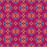 Seamless background southeast Asian retro aboriginal traditional. Art textile pattern round curve cross colorful petals flower Stock Photos