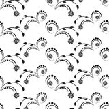 Seamless background with spittle flowers black ornament Stock Image