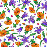 Seamless background  with spring flowers in stained glass style, flowers, buds and leaves of pansies and lilies on a light backgro Stock Photography