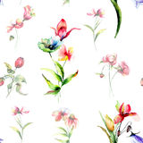 Seamless background with spring flowers Stock Images