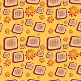 Seamless background with squares and flowers Royalty Free Stock Images