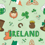 Seamless background with St. Patrick's Day icons Royalty Free Stock Photography