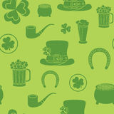 Seamless background for St. Patrick's Day. The traditional attributes.  Royalty Free Stock Photo
