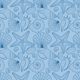 Seamless background with starfish and seashells Stock Photography