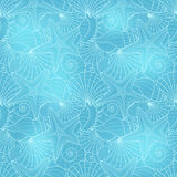 Seamless background with starfish and seashells Royalty Free Stock Image