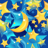 Seamless background - stars and moon Royalty Free Stock Photography