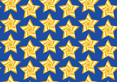 Seamless background with stars. Tileable artistic five-pointed shape optical illusion op form tracery template. Recurring vibrant fond for greeting card on July Stock Illustration