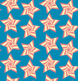 Seamless background with stars. Tileable artistic five-pointed shape optical illusion op form tracery template. Recurring vibrant fond for greeting card on July Royalty Free Illustration