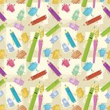 Seamless background, stationery. Seamless cartoon background, stationery family: pencils, brushes, tubes, erasers and pencil sharpeners Stock Photography
