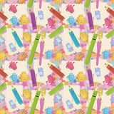 Seamless background, stationery. Seamless cartoon background, stationery family: pencils, brushes, tubes, erasers and pencil sharpeners Stock Photos