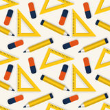 Seamless background with stationery. Vector pattern. Royalty Free Stock Images