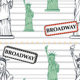 Seamless background with statue of liberty and broadway sign Stock Photos