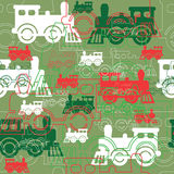 Seamless background with the steam locomotives. Royalty Free Stock Images