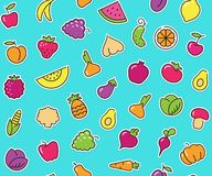 Seamless background with stickers of vegetables and fruits Stock Images