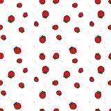 Seamless background with strawberry berries. Fruit pattern. White background, bright objects Stock Photography