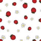 Seamless background with strawberry and flower. Fruit pattern. White background, bright objects Royalty Free Stock Images