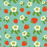 Seamless background from strawberry. And flowers Royalty Free Stock Photos