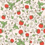 Seamless background with a strawberry and flowers Stock Images