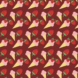 Seamless background with strawberry ice cream Royalty Free Stock Images