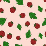 Seamless background with strawberry and leaves. Seamless background with strawberry berries. Fruit pattern. White background, bright objects Stock Photo