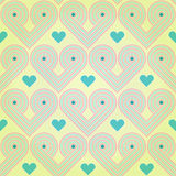 Seamless background with striped retro hearts Royalty Free Stock Image