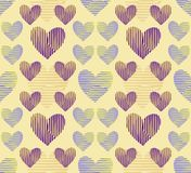 Seamless background of stylish patchwork hearts Royalty Free Stock Photo