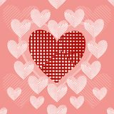 Seamless background of stylish patchwork hearts. Big red heart with sloppy patches surrounded by striped white patchwork hearts. Seamless background. Beautiful Stock Images