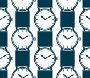 Seamless background with stylish wristwatches, elegant backdrop. With dial and an hour hand. Time management Stock Photos