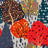 Seamless background with stylized autumn trees. Forest bright pattern. Vector illustration Royalty Free Stock Photo