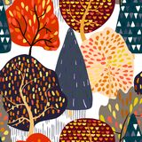Seamless background with stylized autumn trees. Forest bright pattern. Vector illustration Stock Photos