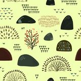 Seamless background with stylized autumn trees. Forest bright pattern. Vector illustration Stock Illustration
