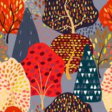 Seamless background with stylized autumn trees. Forest bright pattern. Vector illustration Stock Image