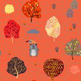 Seamless background with stylized autumn trees. Forest bright pattern. Vector illustration vector illustration