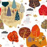 Seamless background with stylized autumn trees. Forest bright pattern. Vector illustration royalty free illustration